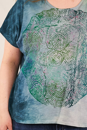 1250 HD Hand Dyed Moon Tee Sea Blue Green Constellation  P