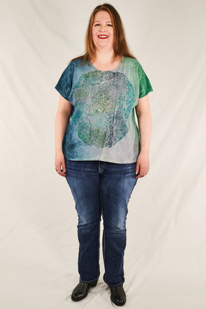 1250 HD Hand Dyed Moon Tee Sea Blue Green Constellation-P