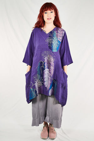 2133 Crossover Linen Tunic Violet- Painterly Feather