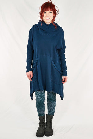 2292-Cowl Thermal Pocket Tunic-Studio Blue-unprinted