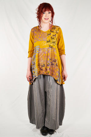 1248  V-neck Hi/Lo Top-Turmeric-P
