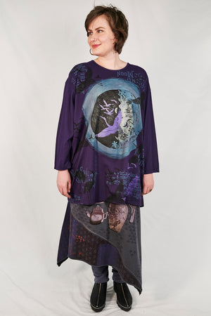 1157-Oversized Studio Tee Mystic Purple- Printed