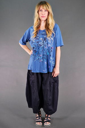 1211 Simple A-line Tee Delft-Floral Avifauna