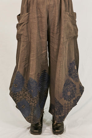 3243 Linen Billow Pant Bark-P