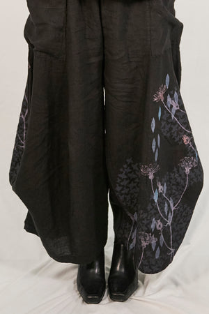 3243  Linen Billow Pant Black-P