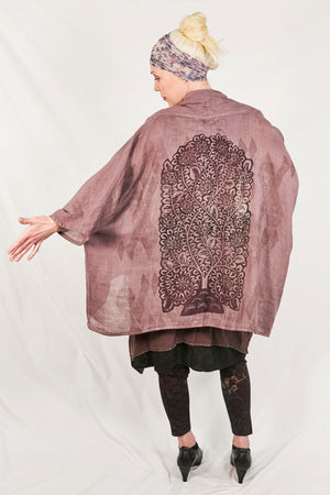 5230-Linen Boxy Cardi Plum Haze-Deep Earthy Tones Tree of Life-P