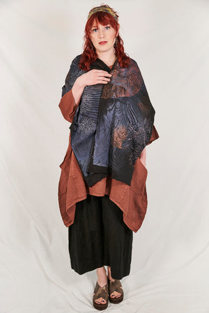 8001 Cotton Long Scarf Black Oceanic Menagerie-P