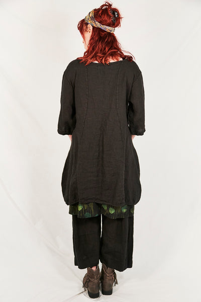 2265  Pinch Pocket Tunic Black-P