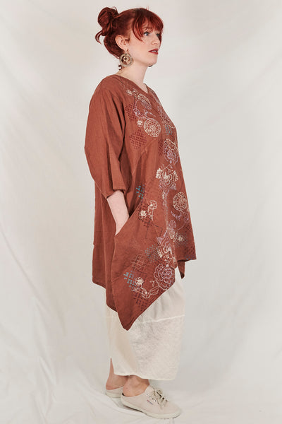 2133 Crossover Linen Tunic Mojave-P