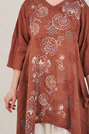 2133 Crossover Linen Tunic Mojave Printed