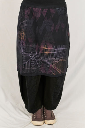 4169 Layer Skirt Black-Printed Amsterdam Maps