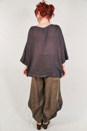 L594-Oversized Square Linen Top-Arrowhead-P
