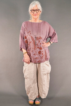 L594-Oversized Square Linen Top-Plum Haze-P