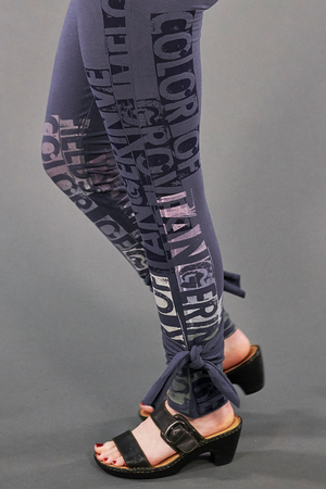 3185 Hand Printed Side Wrap Legging Shadow-P