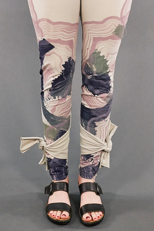3185 Hand Printed Side Wrap Legging Fog-P