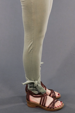 3185 Hand Printed Side Wrap Legging Lichen-U