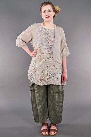 1210 Linen Simple Tunic Fog-P