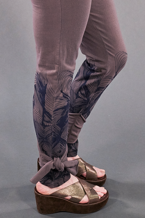 3185 Hand Printed Side Wrap Legging Flint-P
