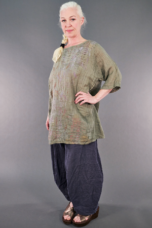 1210 Linen Simple Tunic Lichen-P