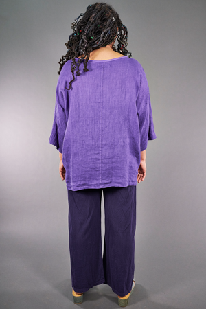 L594-Oversized Square Linen Top-Violet-P