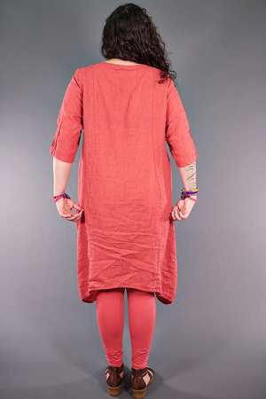 2299 Cloud Linen Dress Coral-P