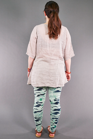 1210 Linen Simple Tunic Fog Printed
