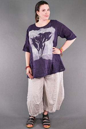 1210 Linen Simple Tunic Violet Ink-P