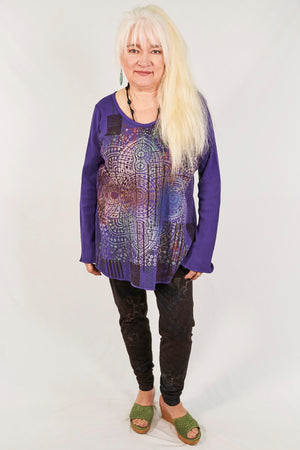 1231 Thermal A-Line Top- Purple- Mystical Mandala