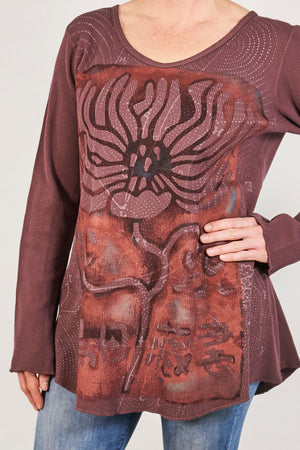 1231 Thermal A-Line Top- Plum Brown- Fiery Floral