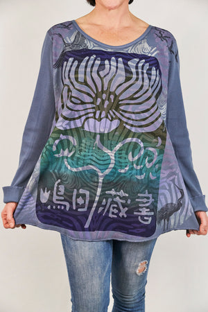 1231 Thermal A-Line Top- Graycious Blue- Flower of Gratitude