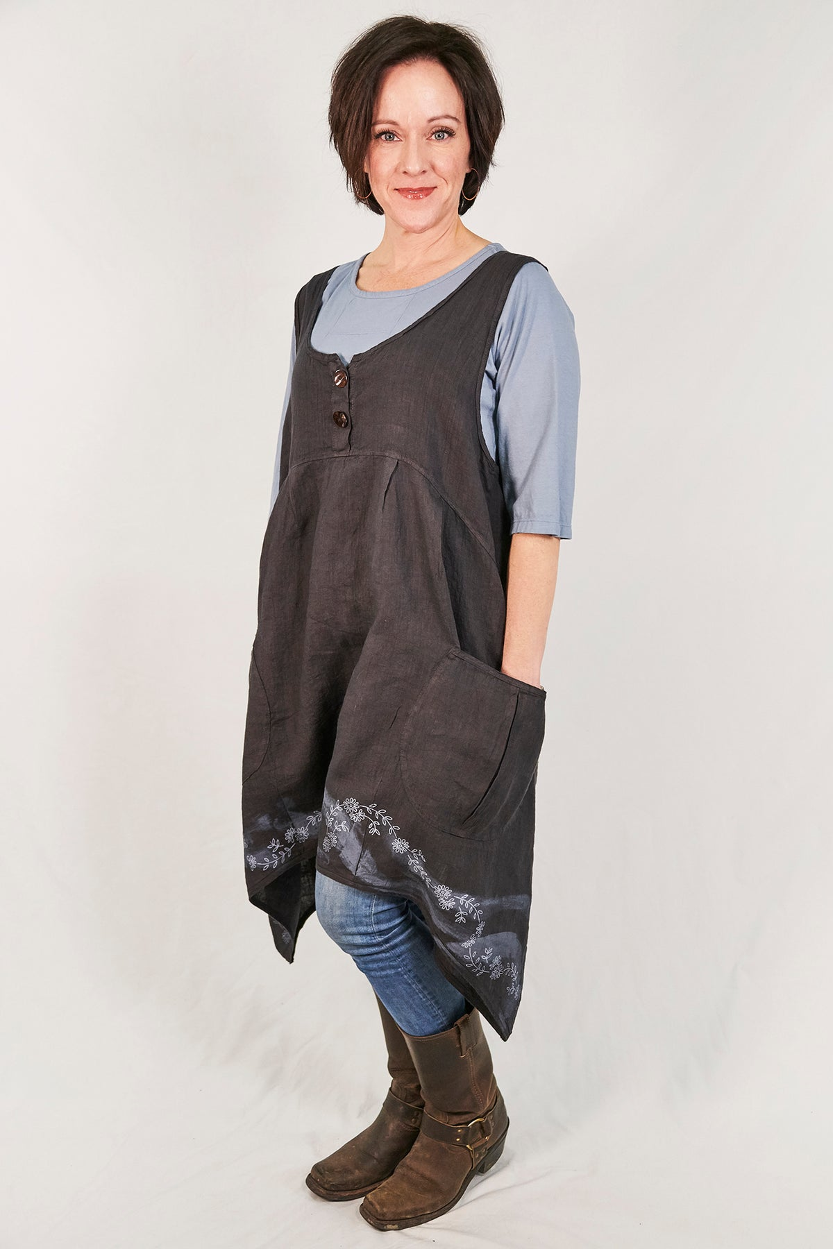 6185 Mulberry Mid Layer Linen Botanical Tide Print-P