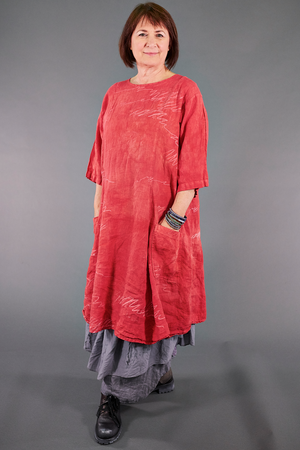 7212 Hand Dyed Summer Linen Dress-Coral-P