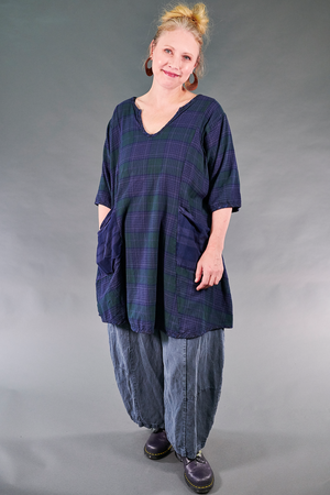 2309 Vintage Plaid Tunic-Blue/Green-U