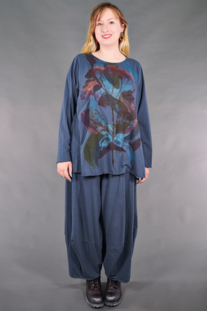 1190 Long Sleeve Cafe Tee-Blue Cypress-Botanical Dance