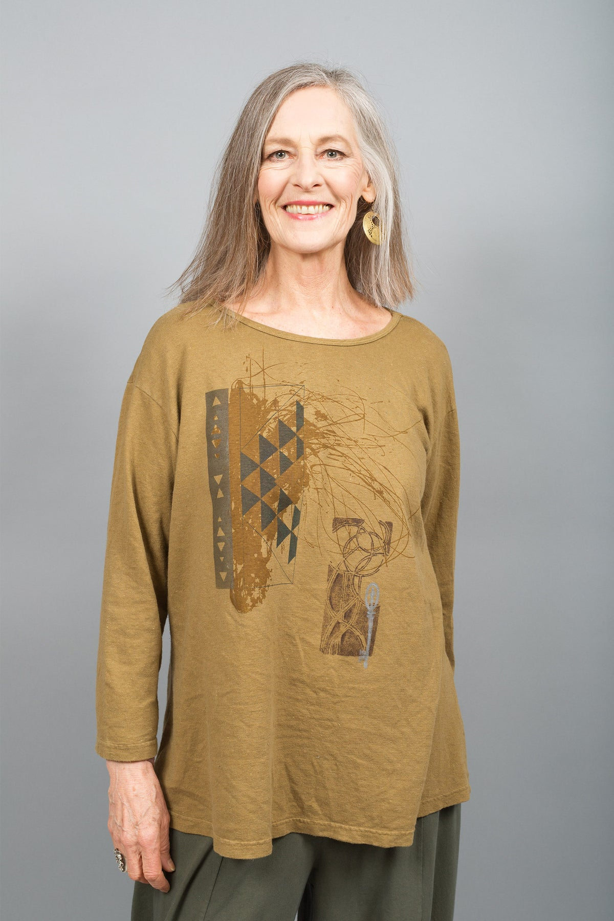Hemp Cotton Top Dark Goldenrod Printed