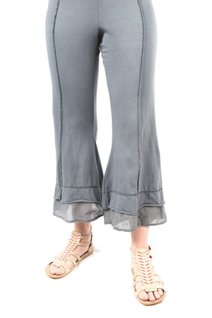 Summer Tiered Crop Pant Grey Green UnPrinted CLEARANCE $48.