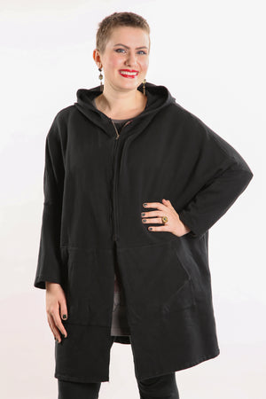 5255 HZ Square Zipper Hoodie Black-unprinted