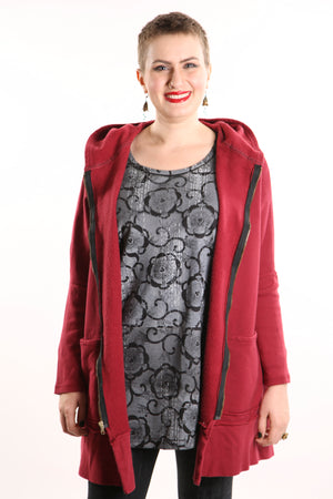 5261 New Rib Zipper Hoodie Tibetan Red UNP