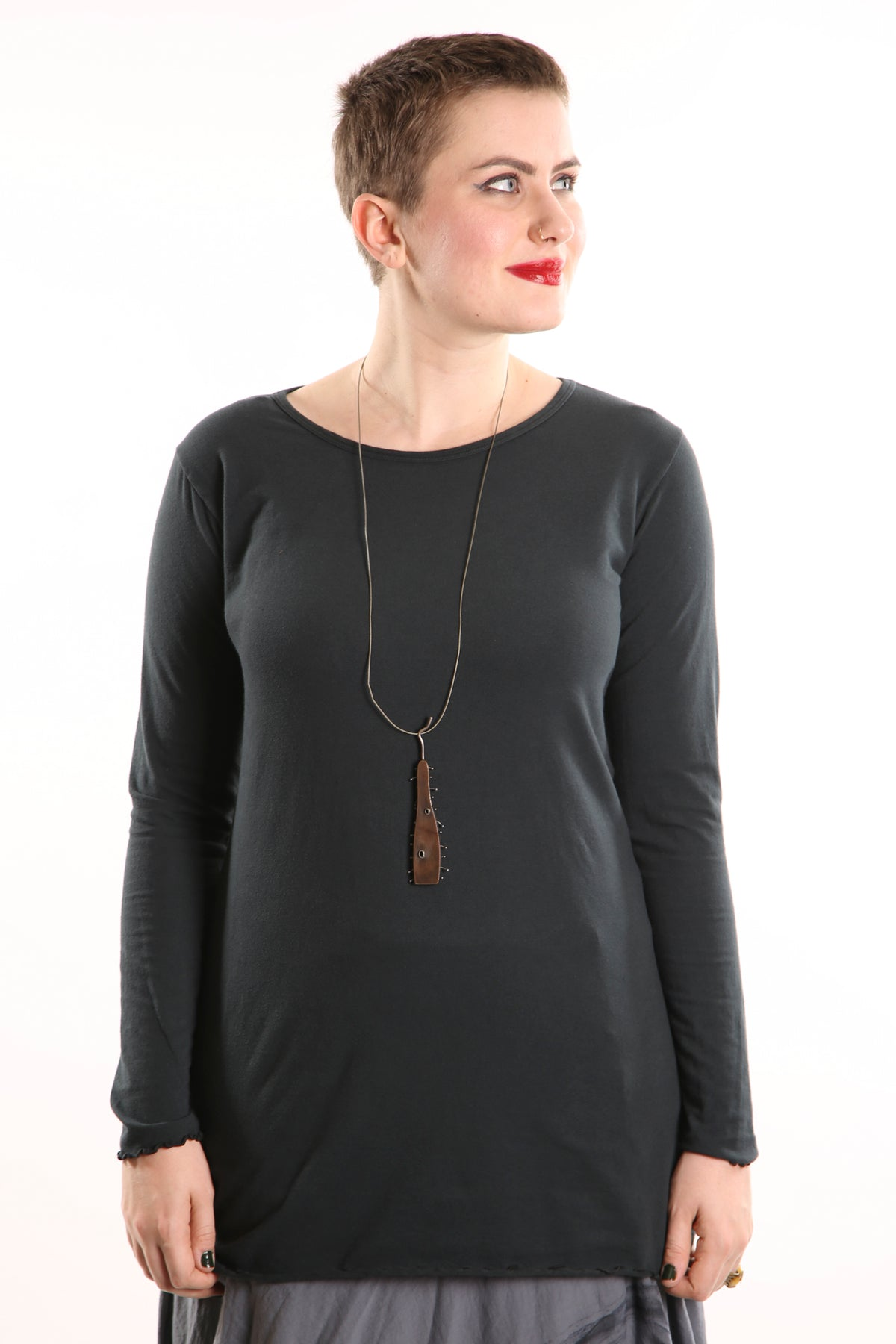 1245 L/S Organic Cotton Stretch Top -Tonal Mineral Black