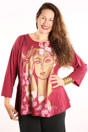 Long Sleeve Cafe Tee Ruby Red-1190-Printed Face
