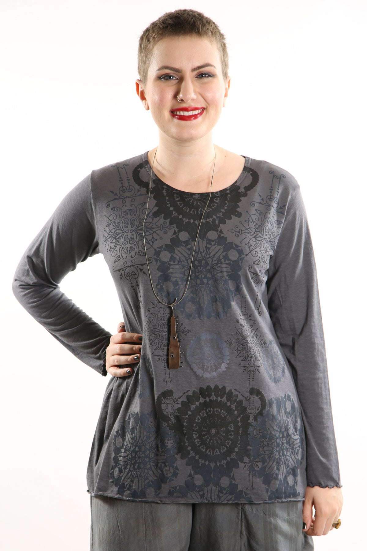 1240  Layering Tee Light Charcoal-Hand Printed