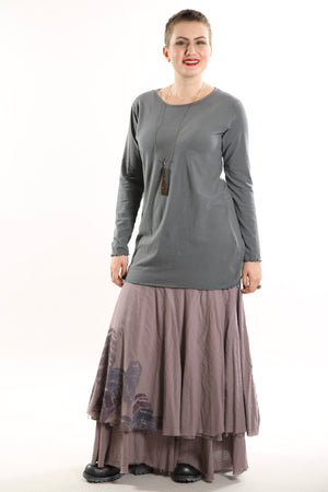 1245 L/S Organic Cotton Stretch Top- Tonal Graycious