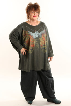 1230 Hemp Organic Cotton Top Dark Olive Copper Charaxes
