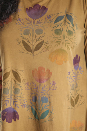 1190 Long Sleeve Dark Gold/Olive Cafe Tee Printed w/Orly Floral