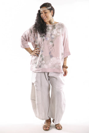 L594-Oversized Square Linen Top Pink-P