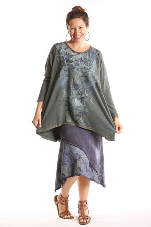 1244 Organic Hemp Cotton Dark Olive Hi Lo Tunic W/ Botanical Mash