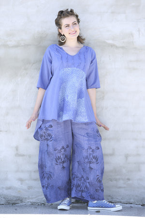 2244-Dawn Clouds Lawn Tunic-Deep Periwinkle-P
