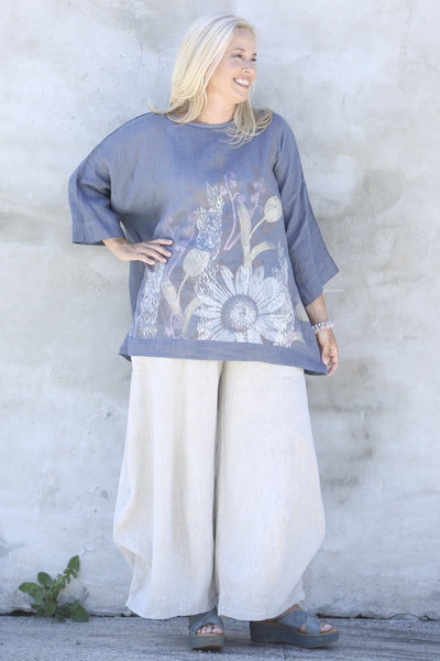 L594-Oversized Square Linen Top-Gracious Blue-P