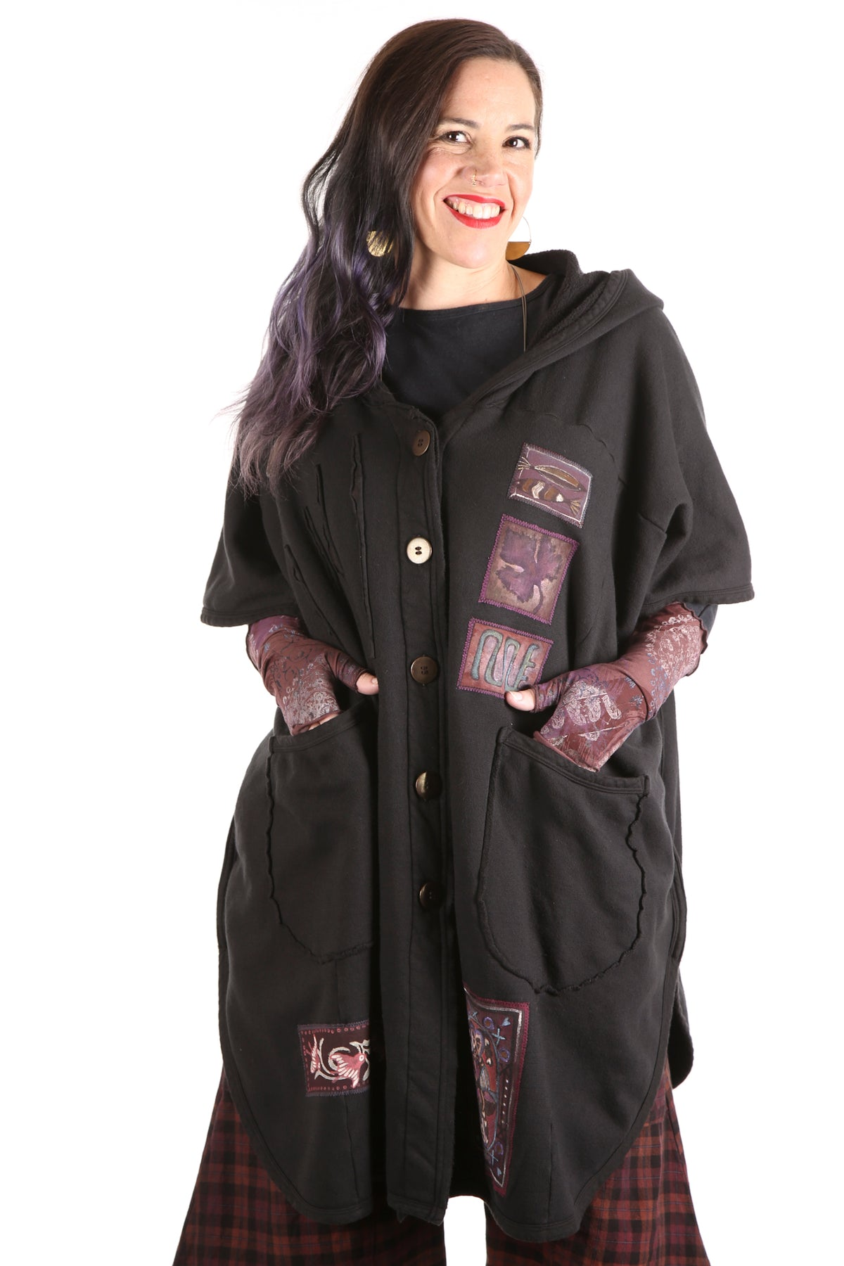 5258 -Raw Edge Hooded Cape - Black-Whimsy Mix Patched #1 OOAK