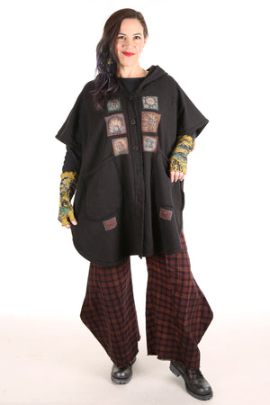 5258 -Black Sherpa Hooded Cape - Black-Patched #3